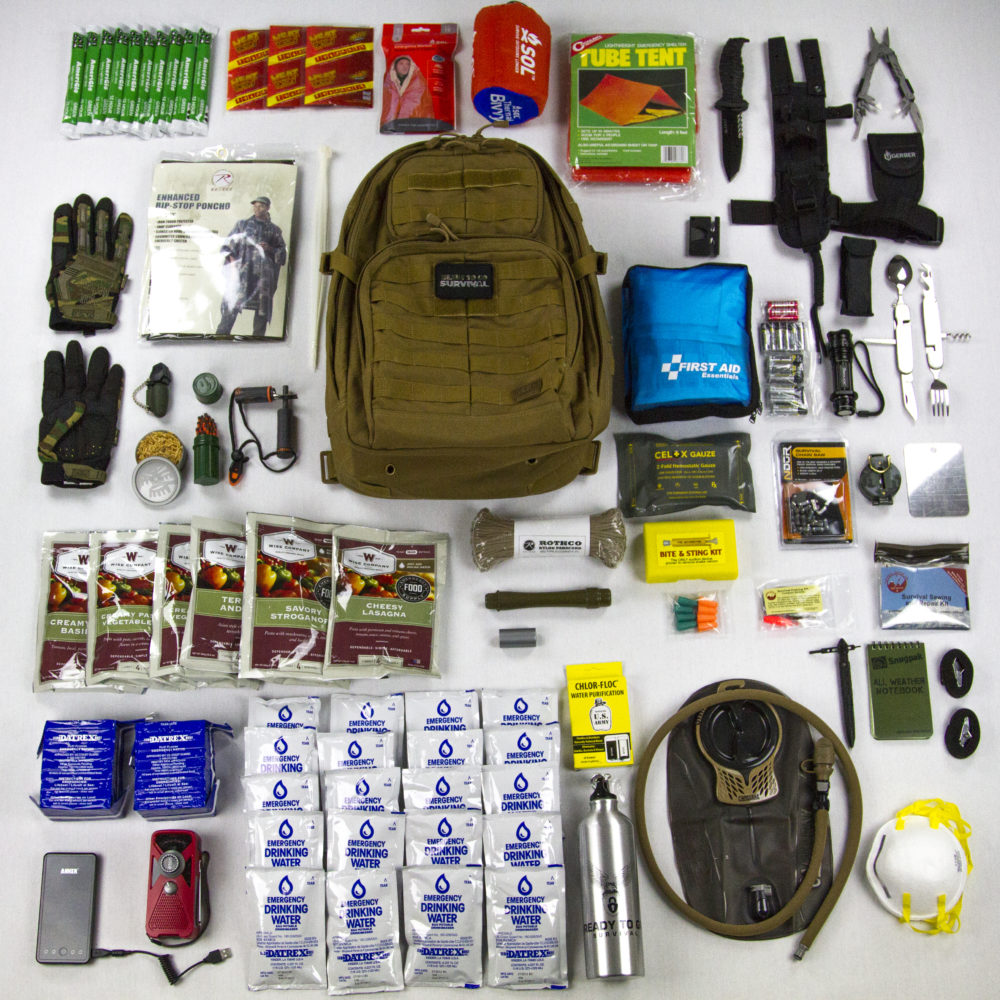 Advanced Operative Bug Out Bag with all items laid out