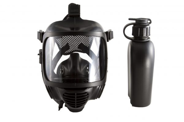 The CM-6M CBRN gas mask with canteen