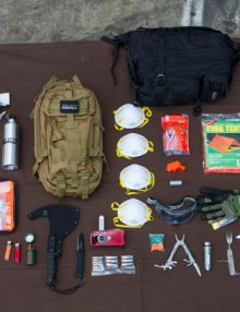 The Ultimate Urban Survival Kit on Brown Background