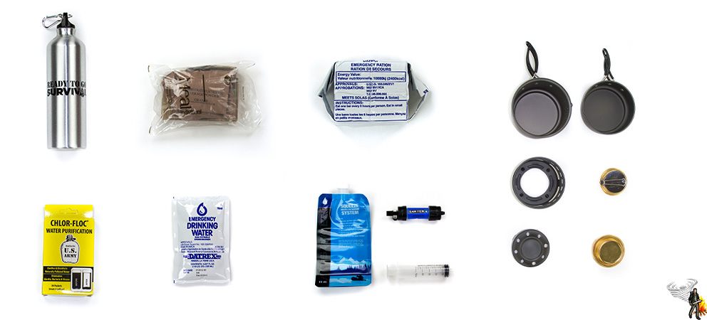 Emergency food and water module for your bug out bag list on white background