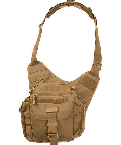 Front View of 5.11 Rush Push Pack Flat Dark Earth on White Background
