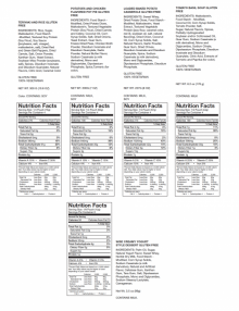 Gluten Free Freeze Dried Food nutrition facts