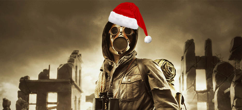 top gifts for survivalists - man in gas mask wearing a santa hat