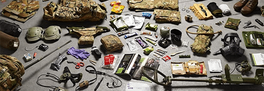 Survival kit laid out on the floor