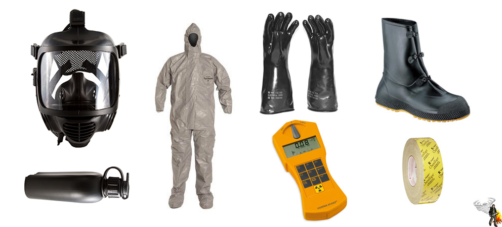 CBRN gas mask, hazmat suit, and other CBRN equipment on white background